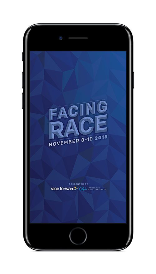 Facing Race app splash screen on phone screen.