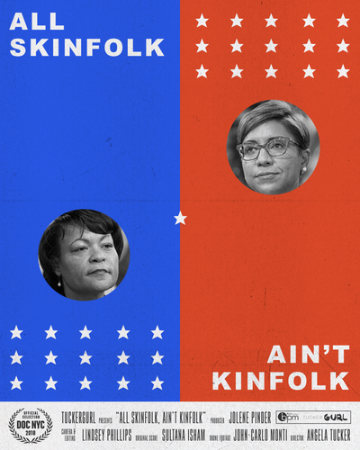 "Post with blue side and portrait and starts with text ""All Skinfolk"" and red side with portrait and stars with text ""Aint't Kinfolk."""