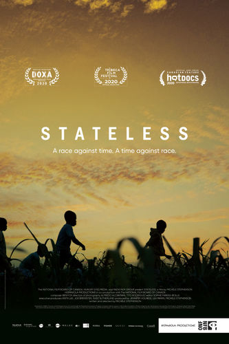 Stateless poster. Silhouette of several children walking throw tall grass with golden strewn clouds.