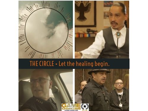 Poster: Four images in a grid with text The Circle. Let the healing begin. 1) A circle with radiating lines on the sky and clouds. 2) Still of a person talking with arm outstretched. 3) Police officer sitting in car. 4) 3 people standing.