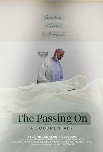 The Passing On Poster, in a tiled room, a Black man in scrubs looks down on two bodies under sheets.